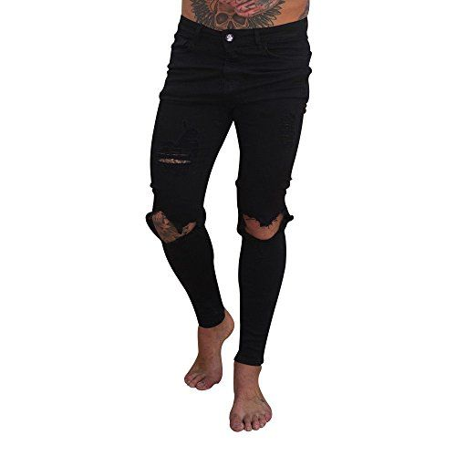 Gusspower Pantalones Vaqueros Hombres Rotos Pitillo Slim Fit