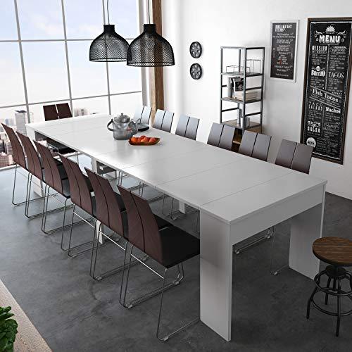 Mesa consola extensible 3 metros | Acabado Blanco Brillo ...