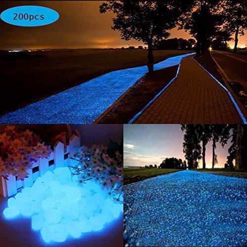 200 Piezas Piedras Decorativas Guijarros Piedras Decorativas del Jard/ín para Las Calzadas Decoraci/ón al Aire Libre Tanque de Peces de Acuario Camino Lawn Yard 200 Piezas Piedras Luminosas Azul