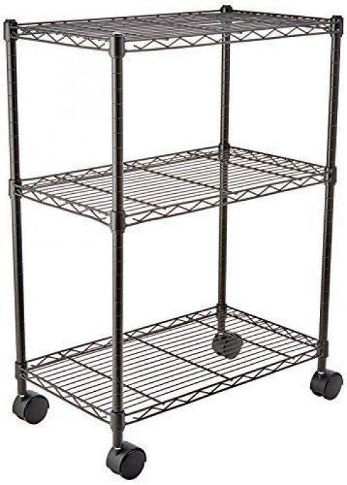 Basics Negro con ruedas Estanter/ía de 3 baldas