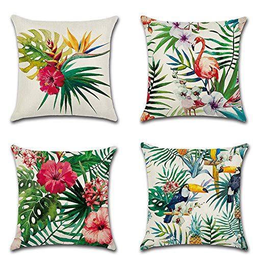 Fossrn Fundas Cojines 45x45 Tropical Tropical Geometr/ía Animal Fox Funda de Cojines para Sofa Modernos Jardin Cama Decorativo